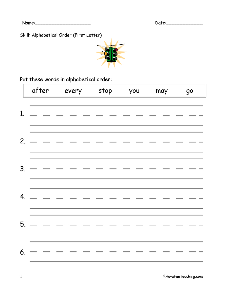 Alphabetical Order To The First Letter Worksheet