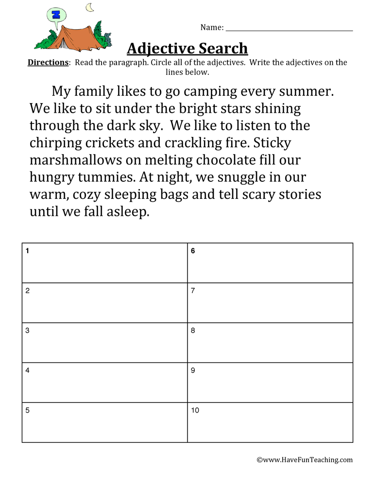 Adjective Worksheet - Camping