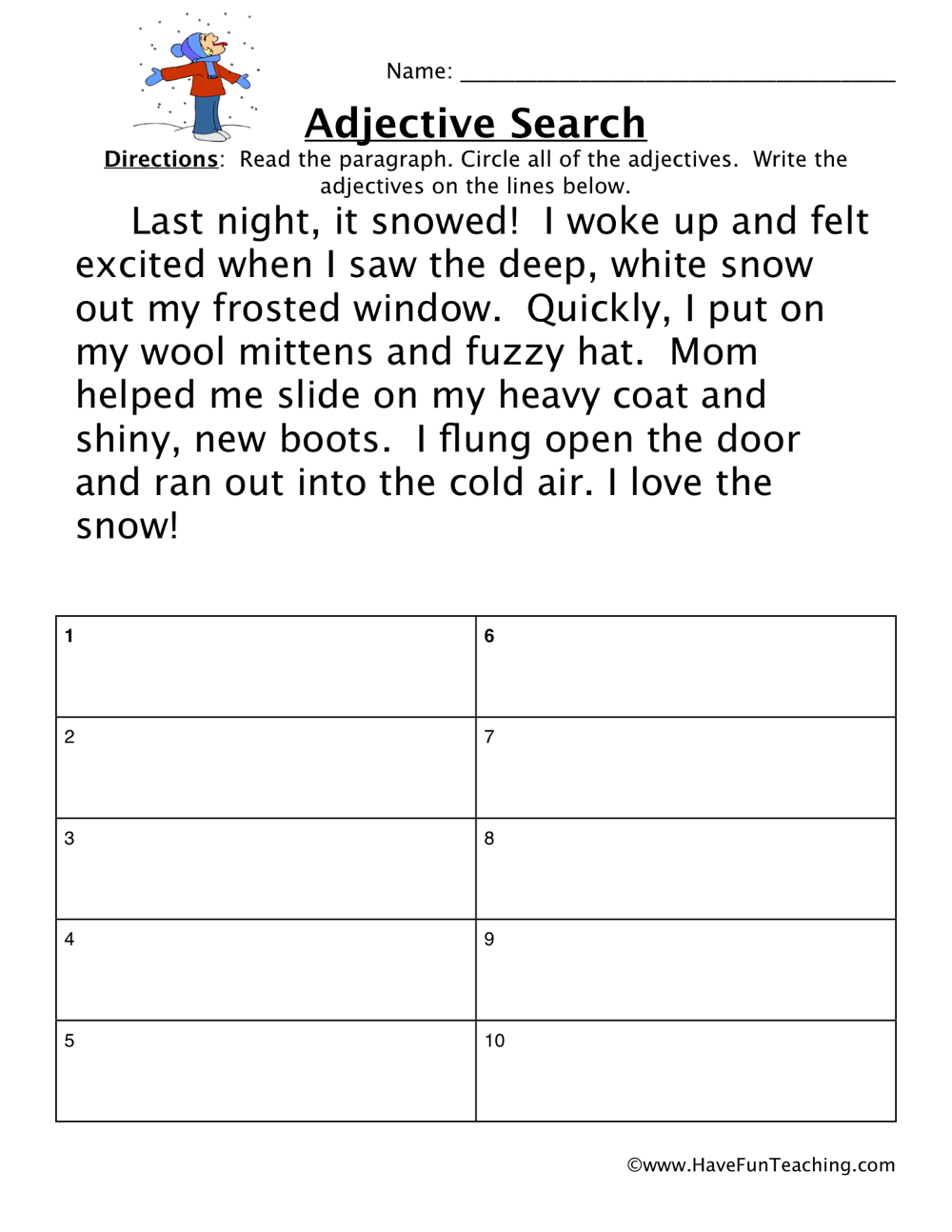 Adjective Worksheets Have Fun Teaching. Adjective Worksheet. Worksheet. 2nd Grade Adjective Worksheets At Clickcart.co