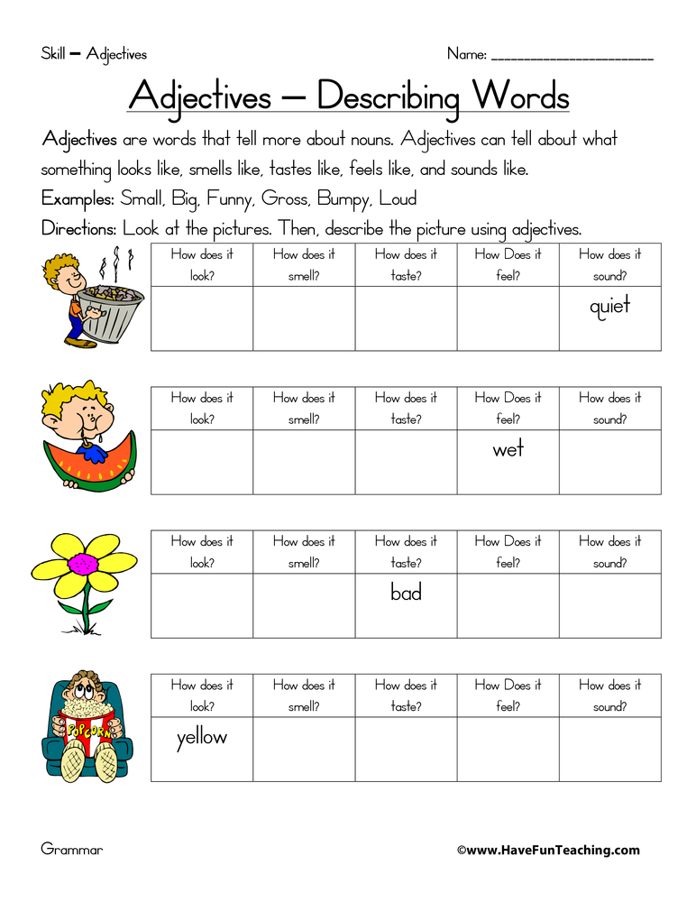 Adjective Worksheets - Page 3 of 3 - Have Fun Teaching