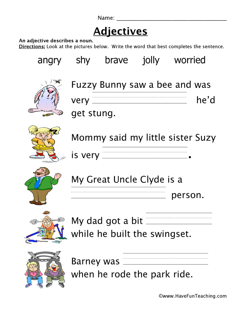 Adjectives Worksheet Have Fun Teaching. Adjectives Worksheet. Worksheet. 2nd Grade Adjective Worksheets At Clickcart.co
