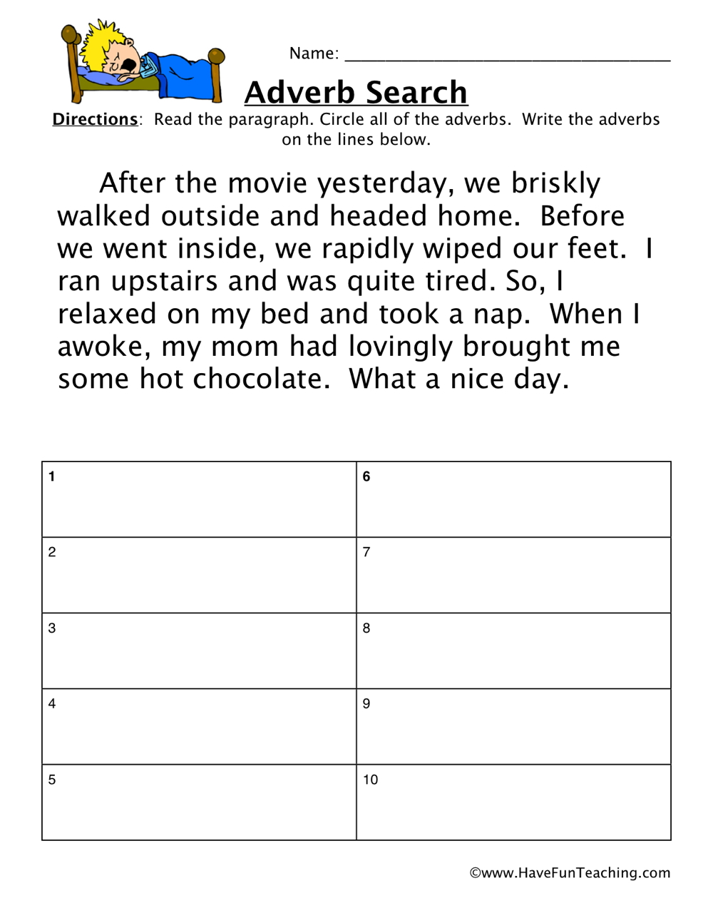 Adverb Worksheet Have Fun Teaching. Adverb Worksheet. Worksheet. Verbs And Adverbs Worksheet Year 6 At Clickcart.co
