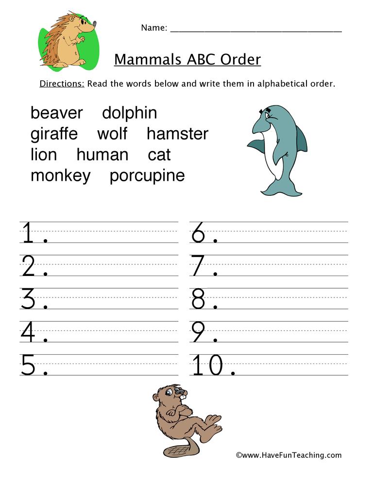alphabetical order worksheet mammals. Black Bedroom Furniture Sets. Home Design Ideas