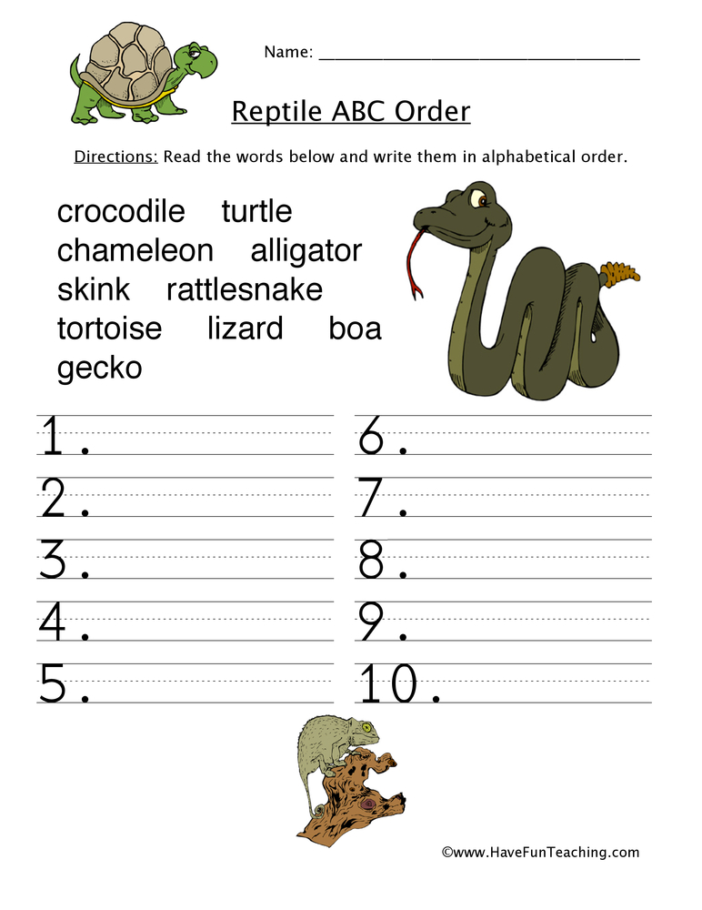 alphabetical-order-worksheet-reptiles