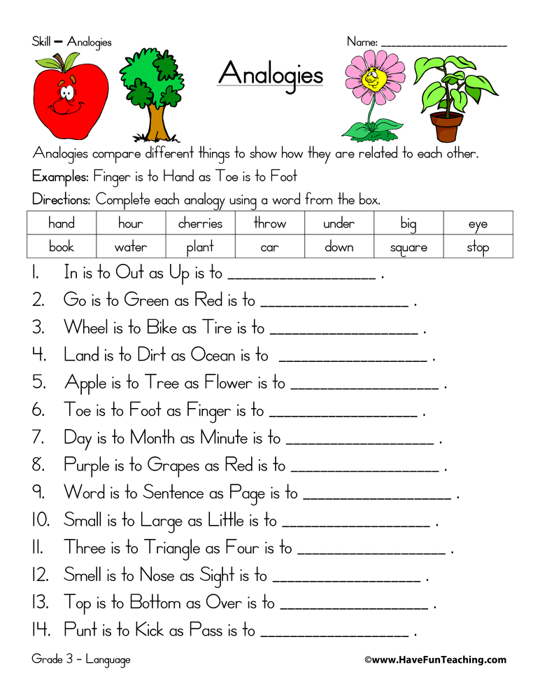 analogy-worksheet