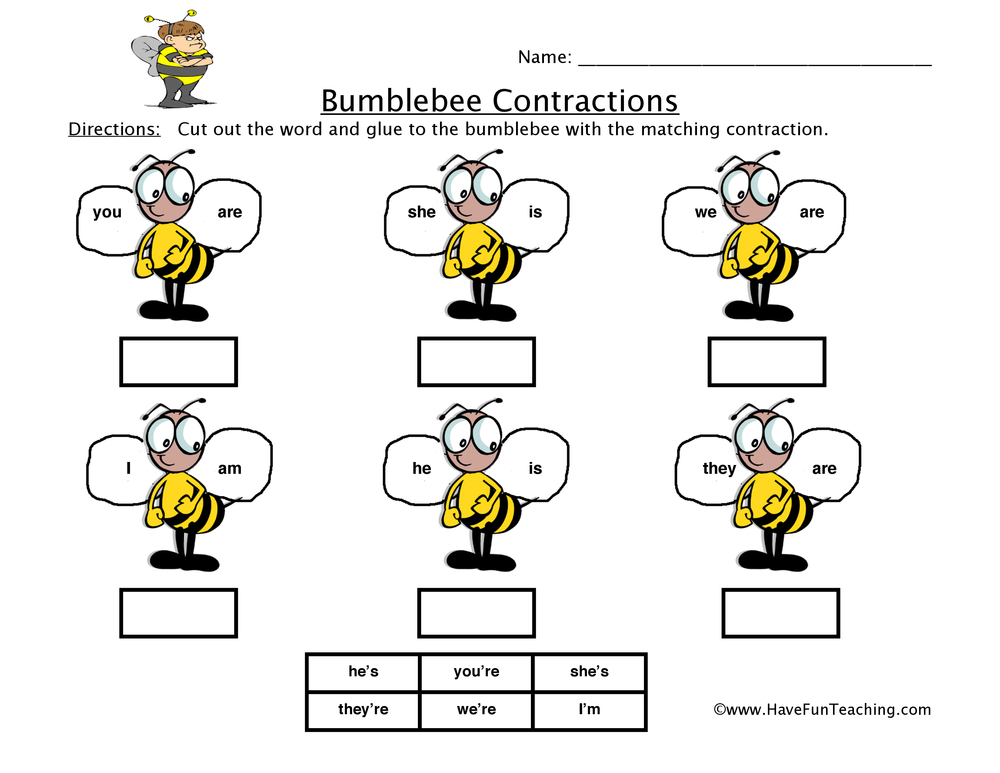 bumblebee-contractions-worksheet-1
