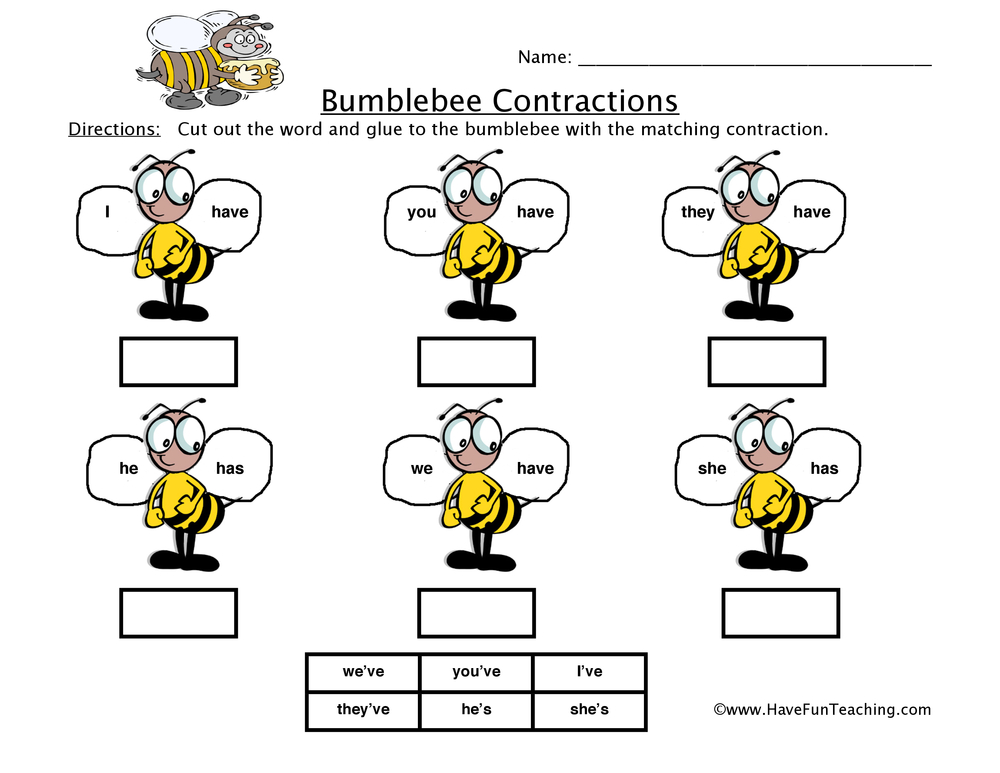 Worksheet Contraction Worksheets For First Grade contractions worksheet have fun teaching bumblebee worksheet