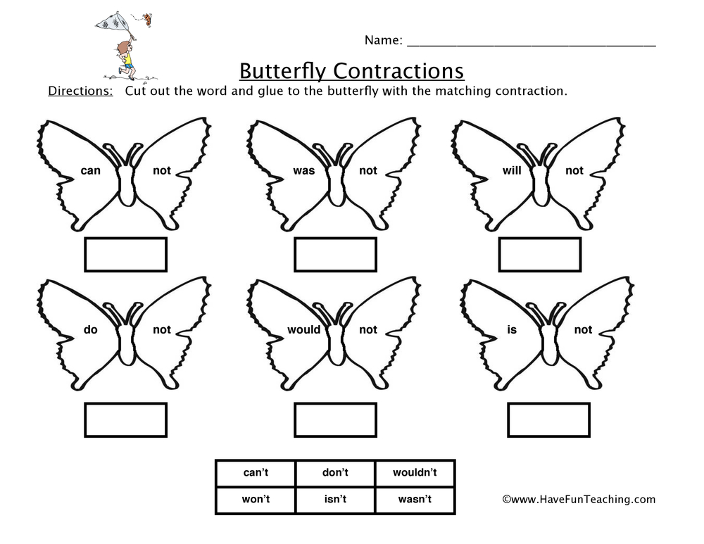 Printables Contraction Worksheets contractions worksheets have fun teaching butterfly worksheet