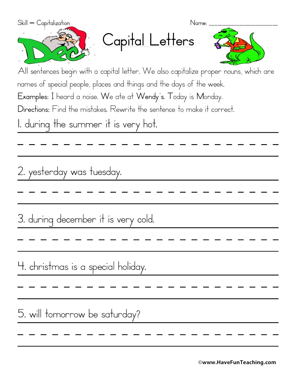 Capitalization Worksheets – Capitalization Worksheets 2nd Grade