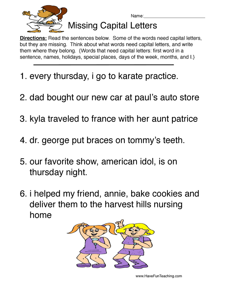 Printables 3rd Grade Capitalization Worksheets capitalization worksheets page 2 of have fun teaching worksheet