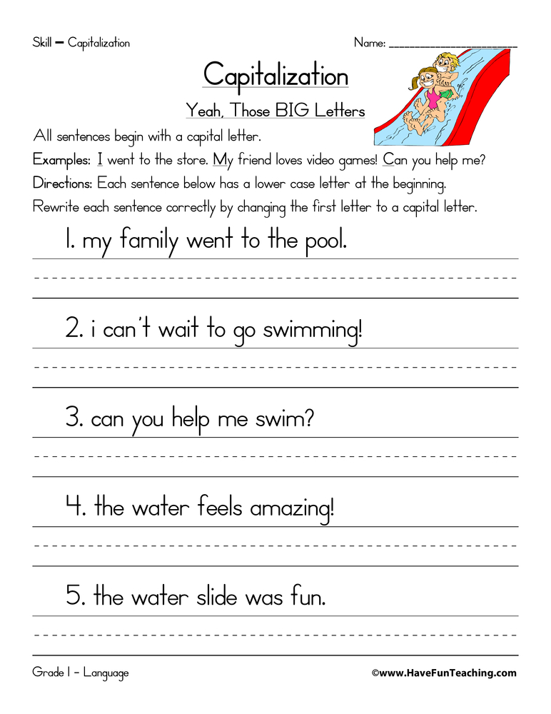 Worksheet Capitalization Worksheets capitalization worksheet beginning of a sentence have fun teaching sentence