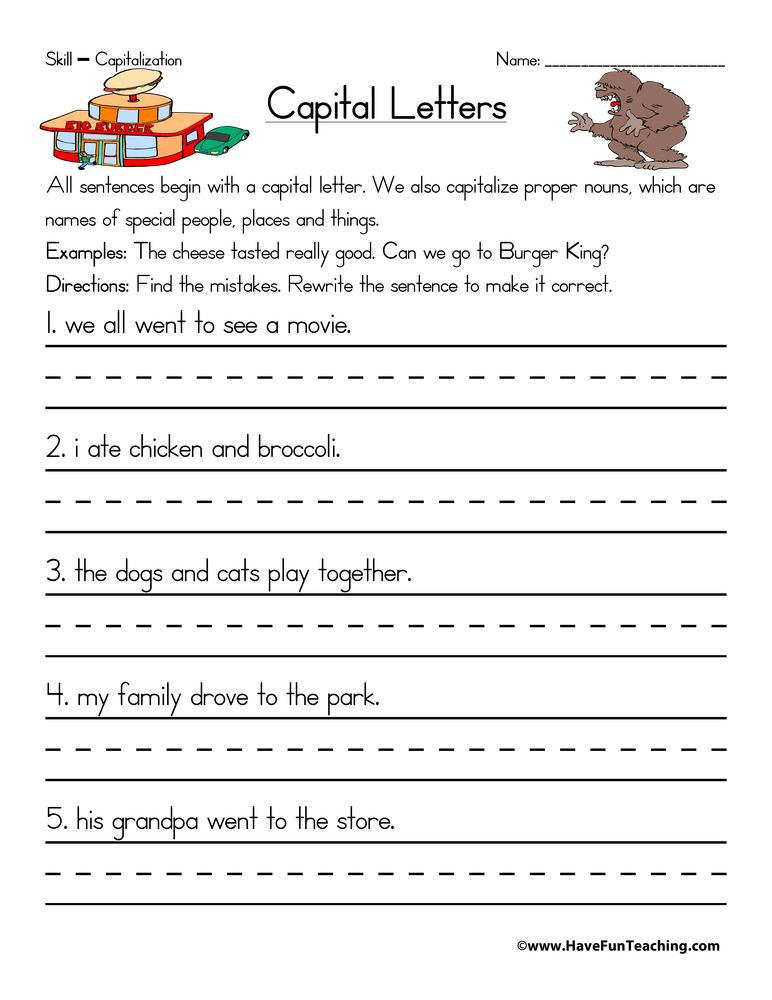 Printables Free Capitalization Worksheets capitalization worksheet have fun teaching worksheet