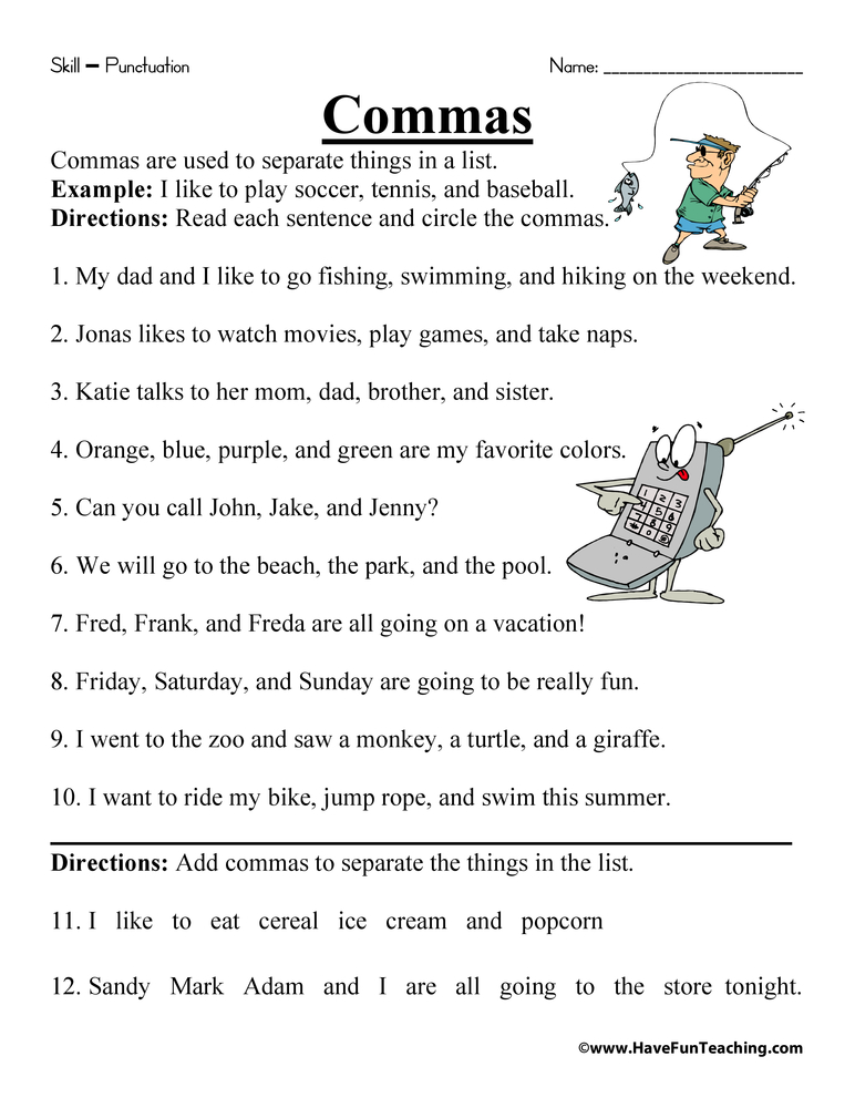 Worksheets Commas Worksheet comma worksheet have fun teaching worksheet