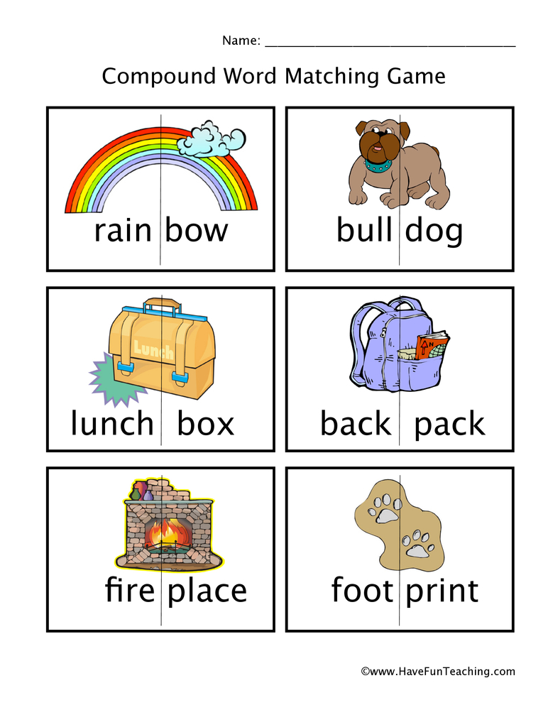 Compound Words Matching Worksheet
