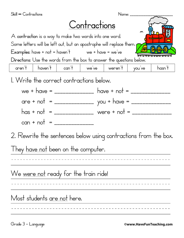 contractions-worksheet