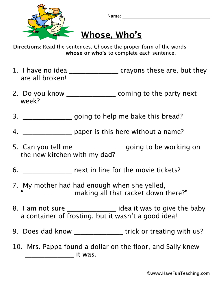 Homophone Worksheet - Whose, Who\'s | Have Fun Teaching