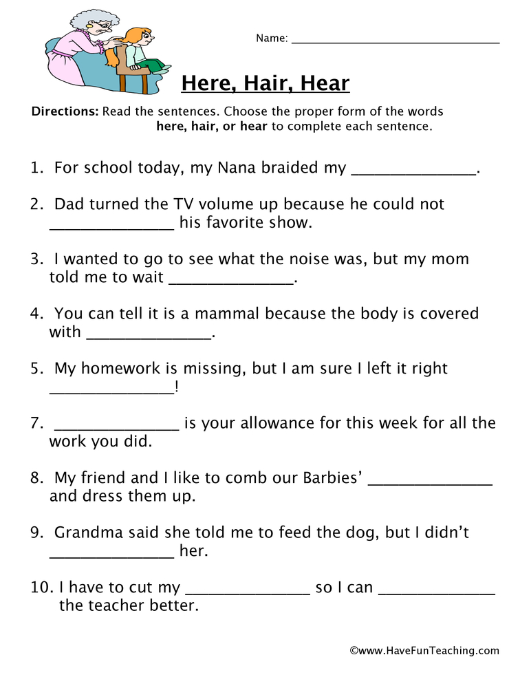 Homophones Worksheets Have Fun Teaching. Homophone Worksheet Here Hair Hear. Second Grade. Homophones Worksheet Second Grade At Clickcart.co