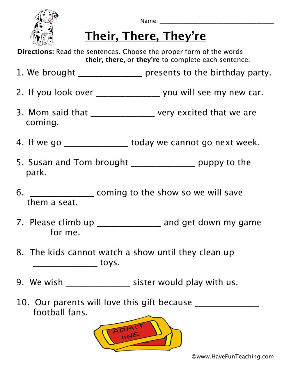 Homophone Worksheet - Their, There, They're