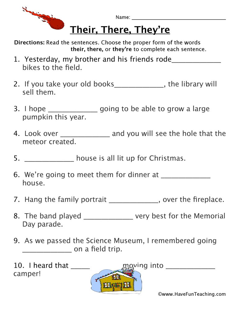 Homophone Worksheet - Their, There, Theyu0026#39;re - Have Fun ...