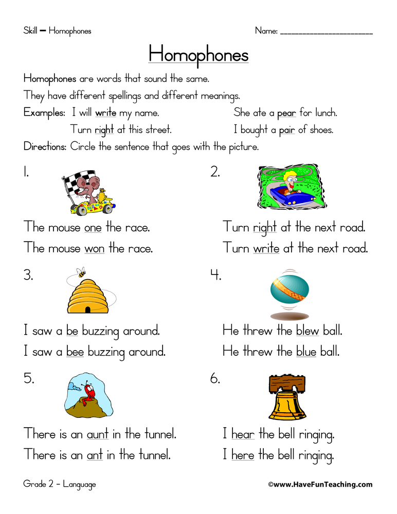 Circle the Best Homophone Worksheet | Have Fun Teaching