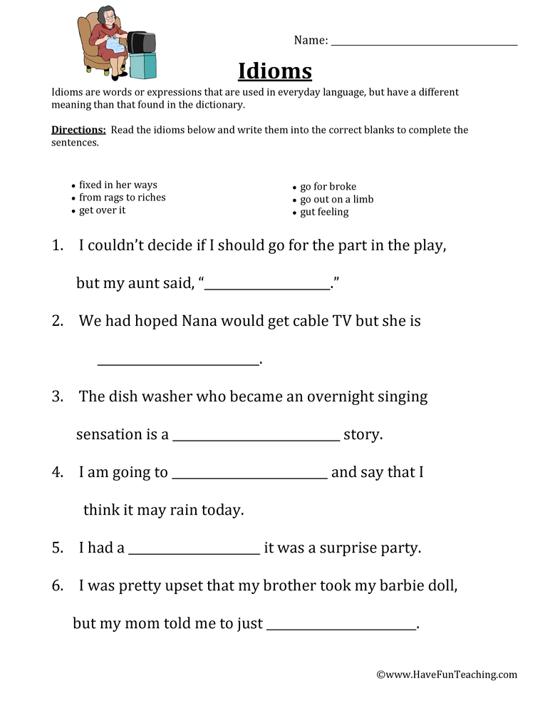 Idiom Worksheets – Adages and Proverbs Worksheets