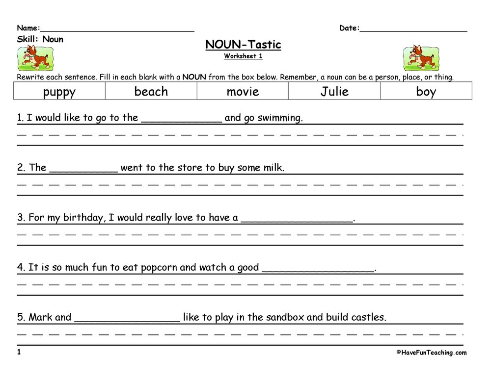 Noun Worksheets – Noun Worksheets