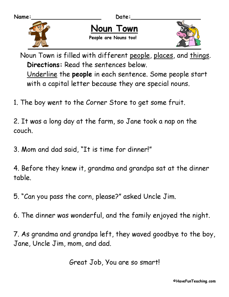 Noun Town Worksheet : Have Fun Teaching
