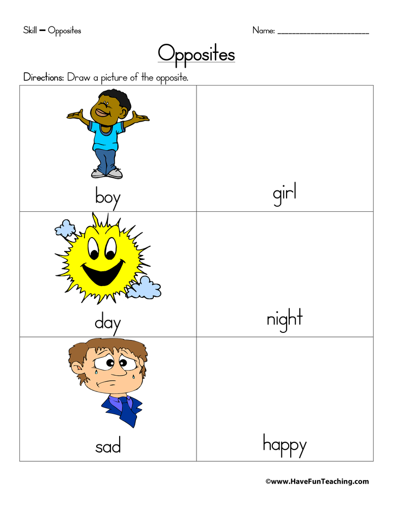 Opposites Worksheet Have Fun Teaching. Opposites Worksheet. Worksheet. Worksheets On Opposites At Mspartners.co