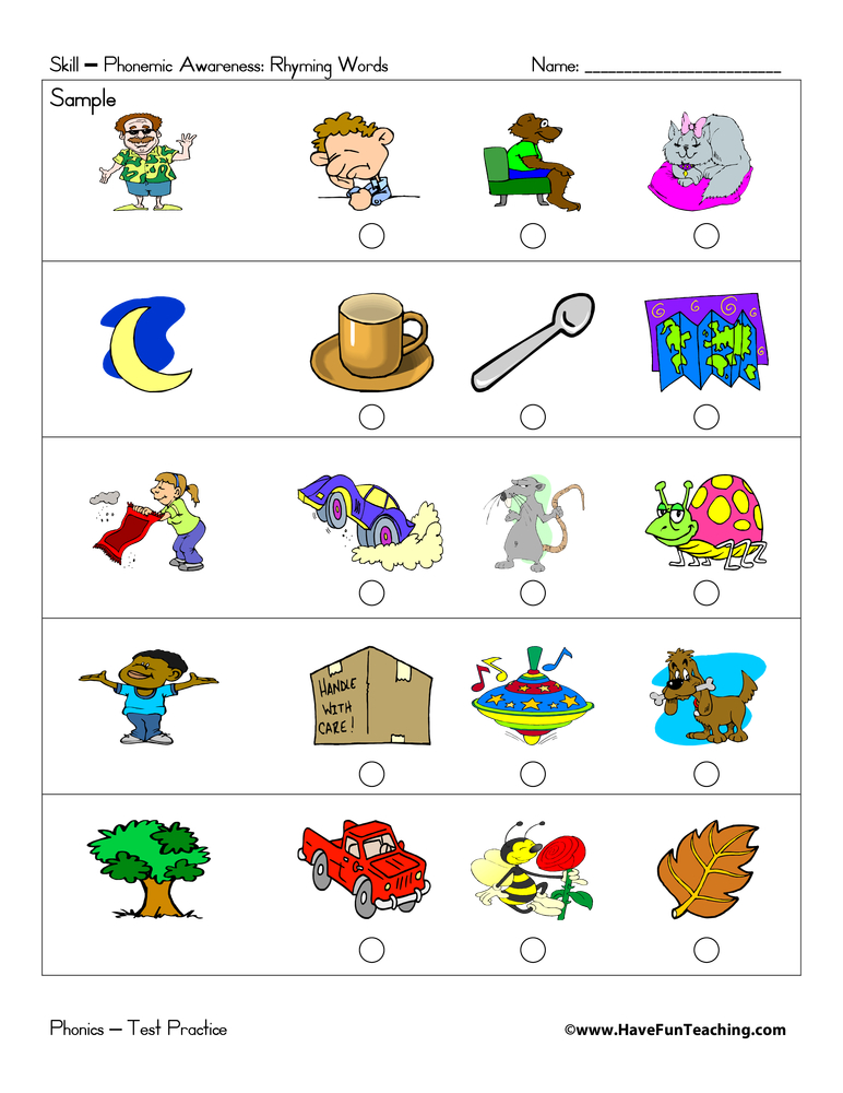math worksheet : rhyming sounds test practice  have fun teaching : Rhyming Kindergarten Worksheets