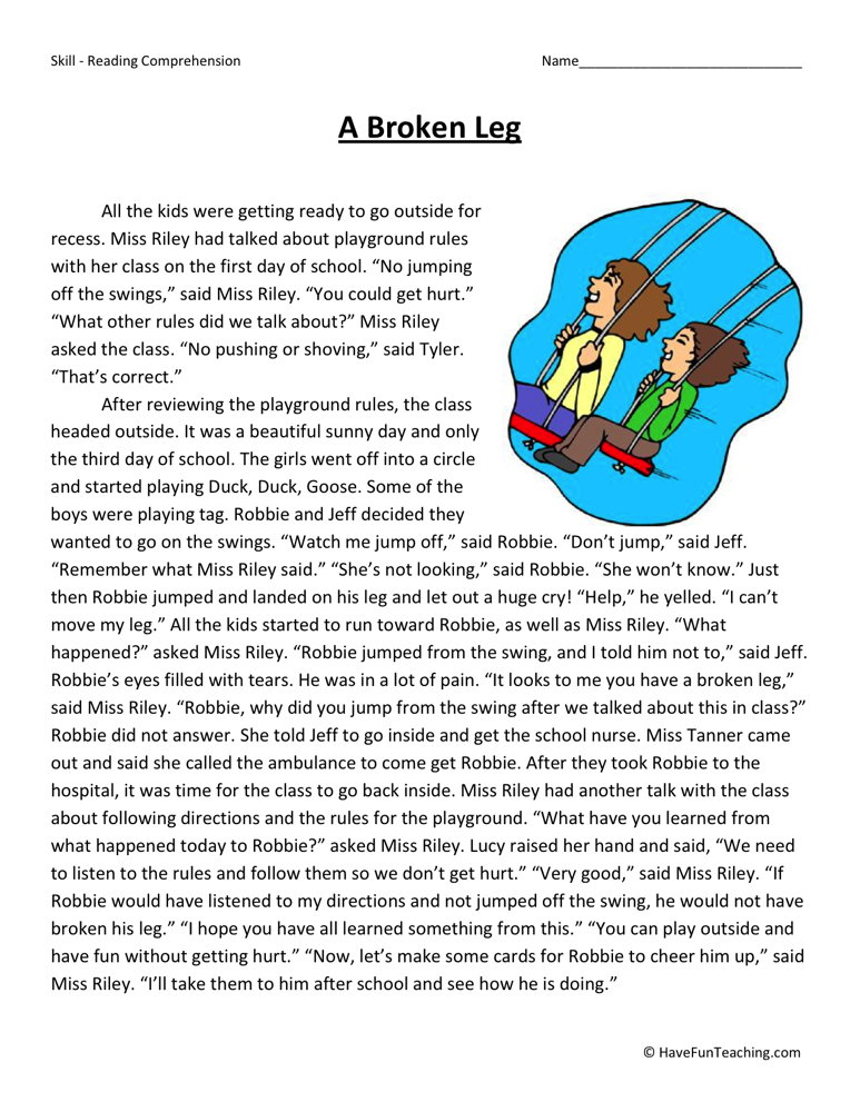 Printable Worksheets free reading comprehension worksheets grade 3 : Second Grade Reading Comprehension Worksheets | Have Fun Teaching