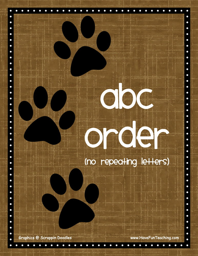 Dogs Easy Alphabetical Order Activity