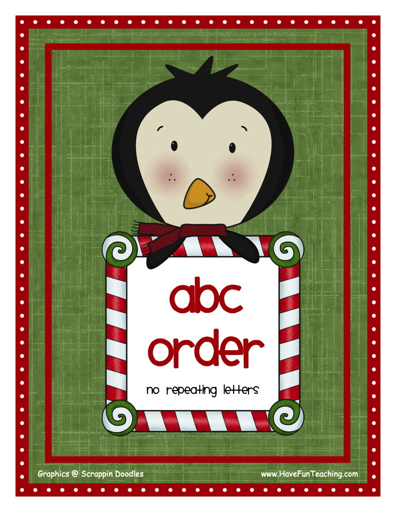 Christmas Alphabetical Order Activity - Easy