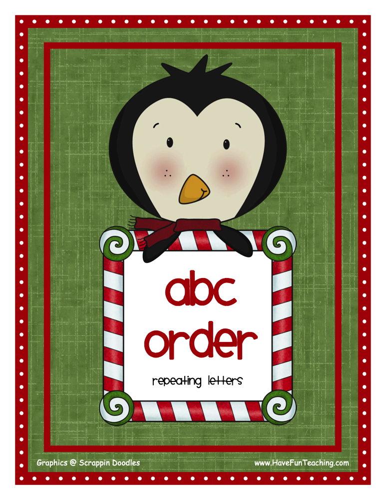 Hard Christmas Alphabetical Order Activity