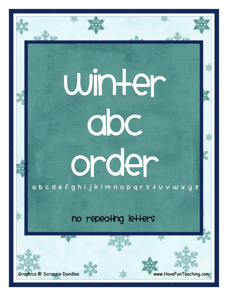 Winter Easy Alphabetical Order Activity