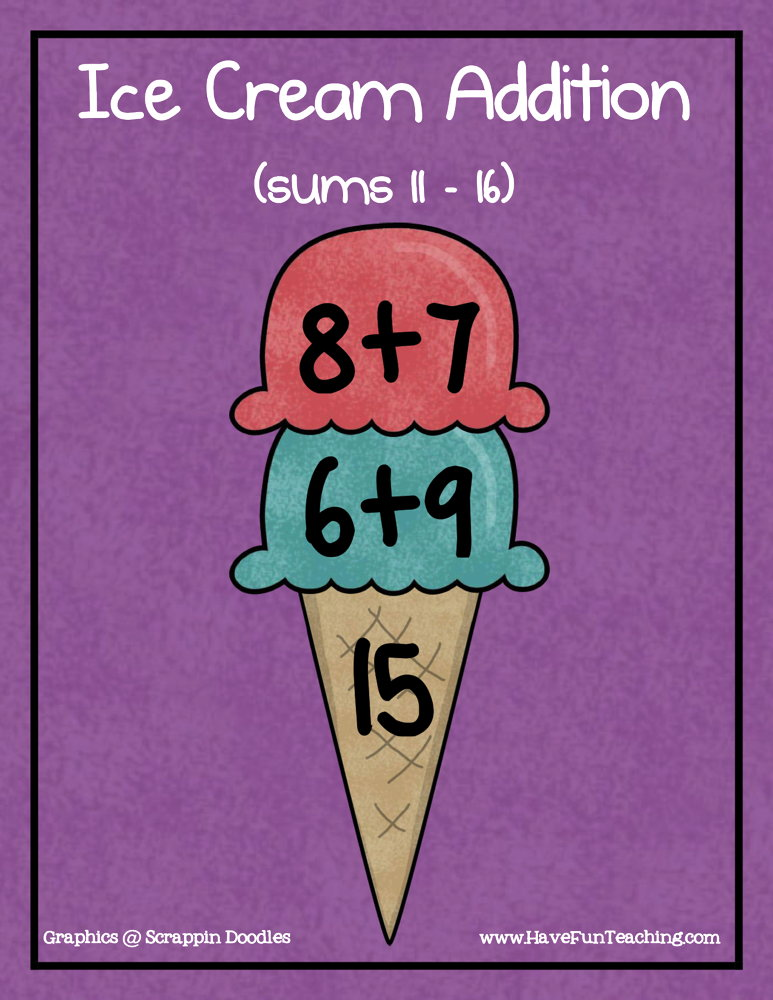Ice Cream Addition Sums of 11-16 Activity
