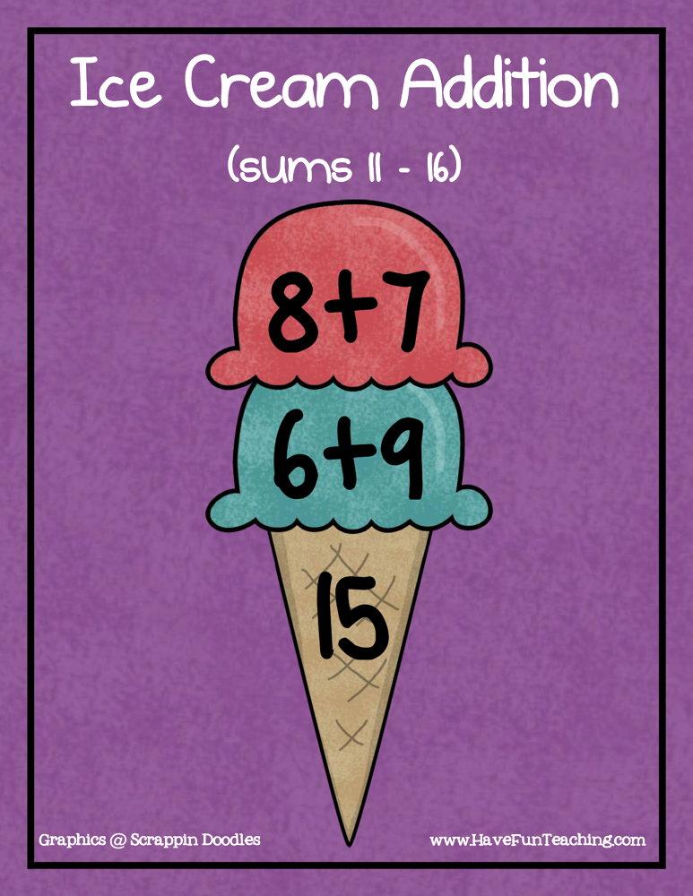 Ice Cream Addition Sums of 11-16 Activity