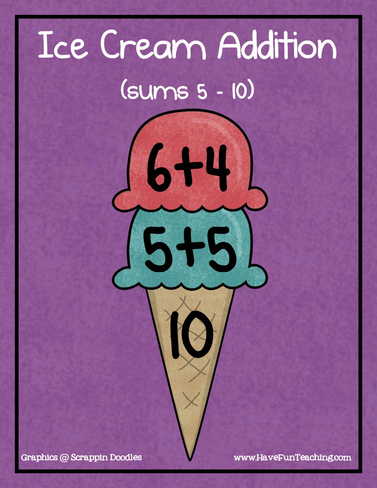 Ice Cream Addition Activity - Sums of 5-10