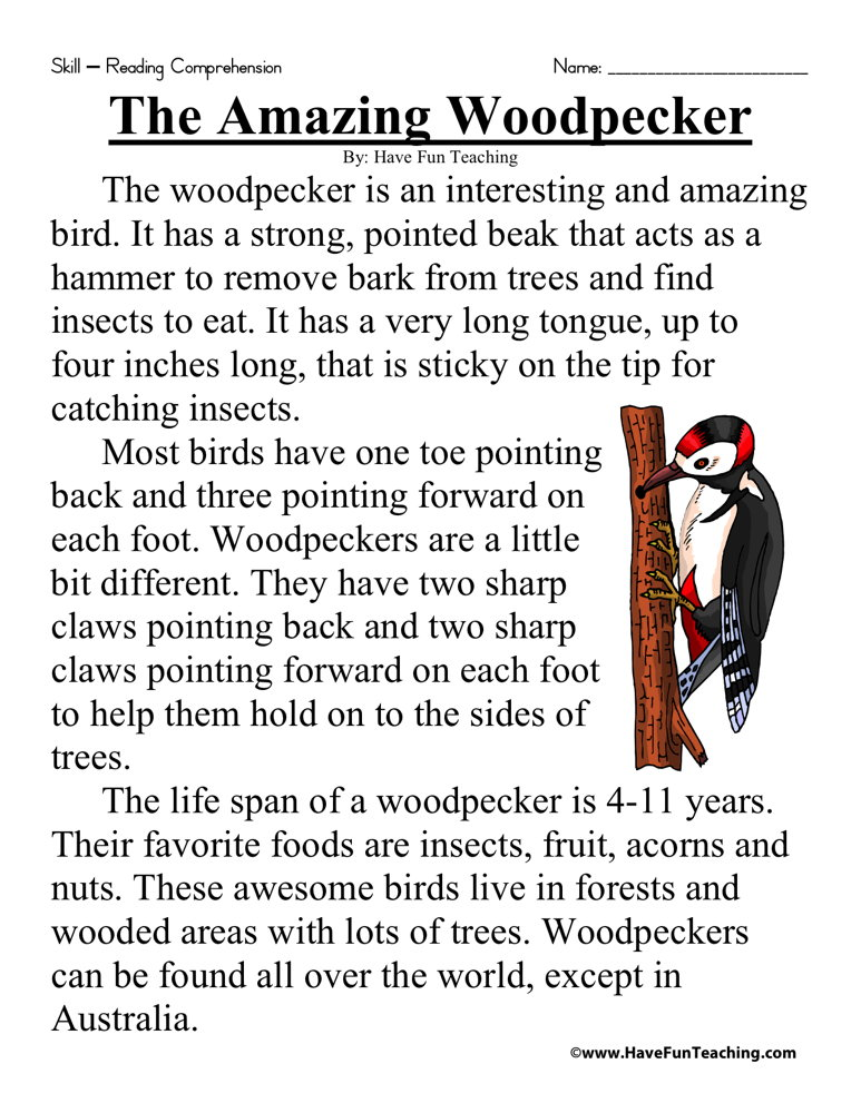 The Amazing Woodpecker Reading Prehension Worksheet