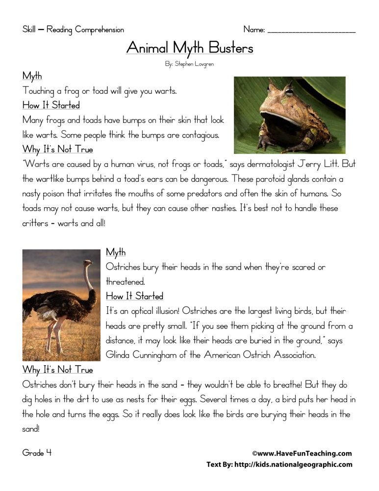 Fourth Grade Reading Comprehension Worksheet - Animal Myth Busters ...