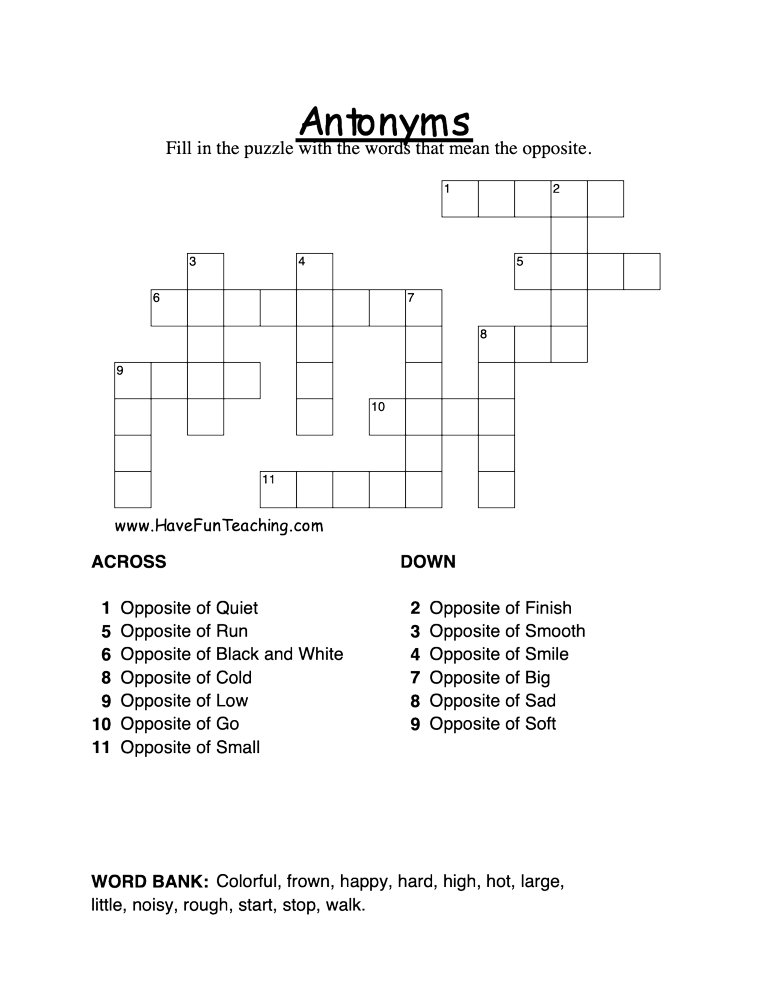 antonym-crossword-puzzle