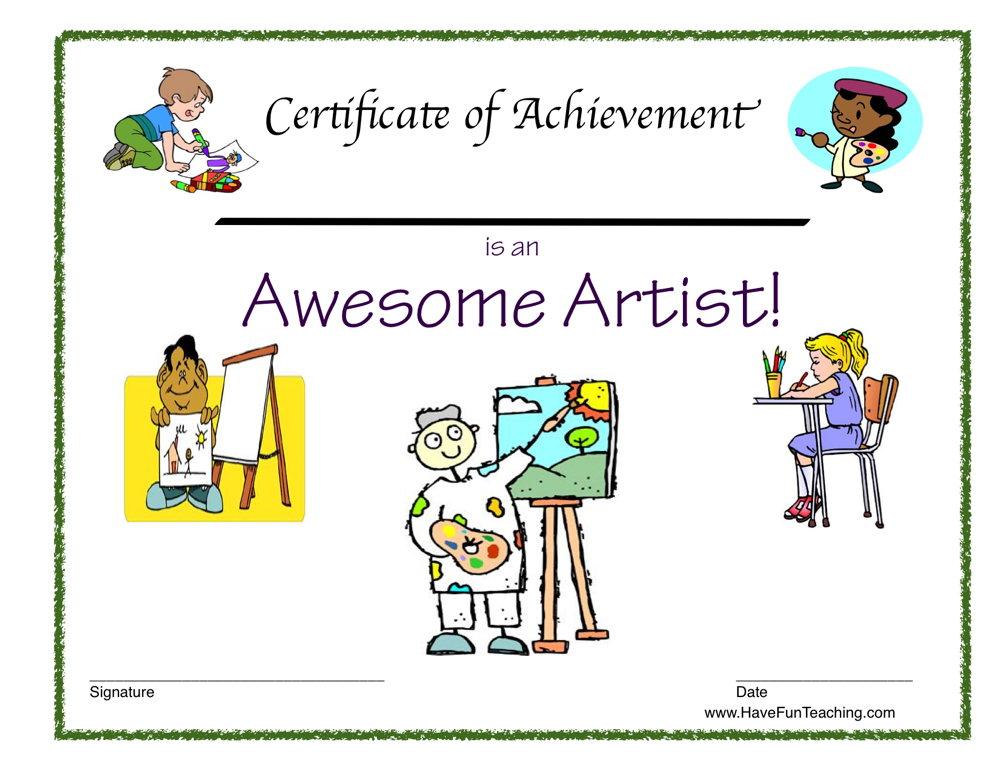 Reward Certificate - Awesome Artist