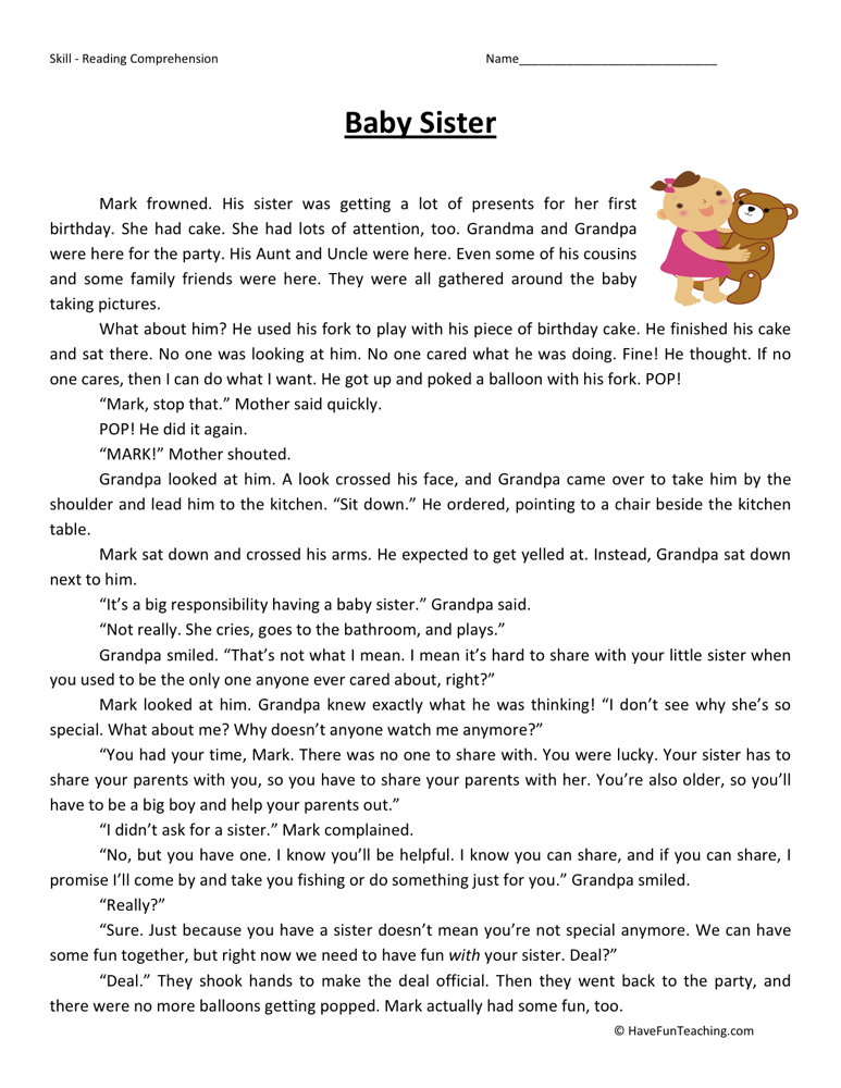 baby-sister-second-grade-reading-comprehension-worksheet