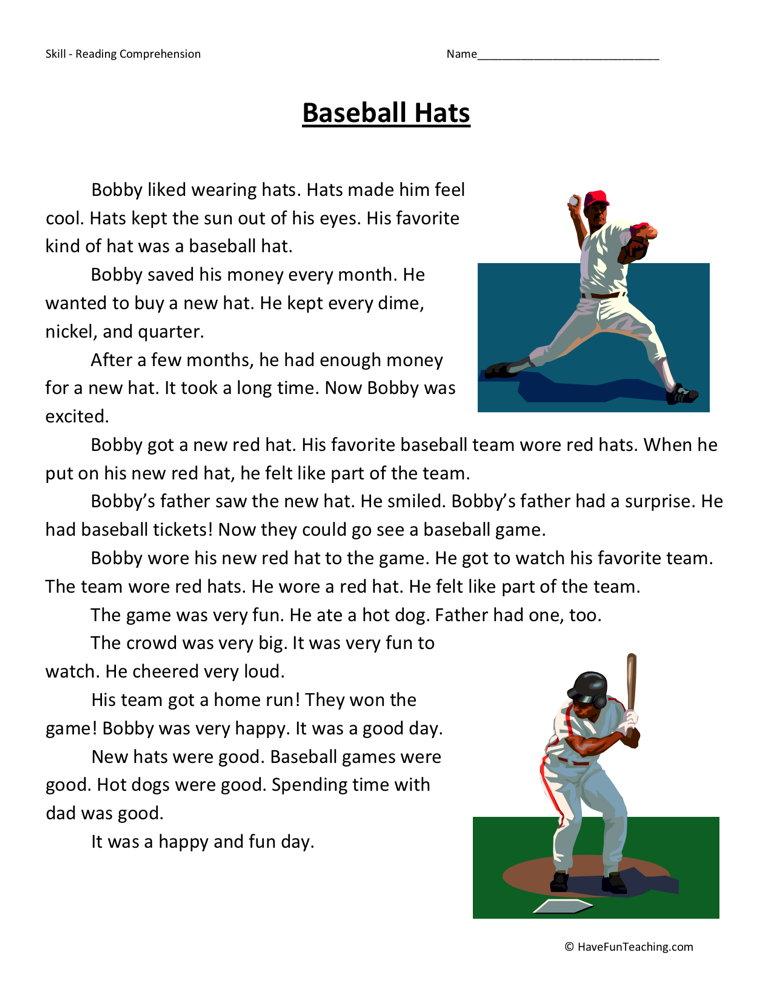 baseball-hat-second-grade-reading-comprehension-worksheet