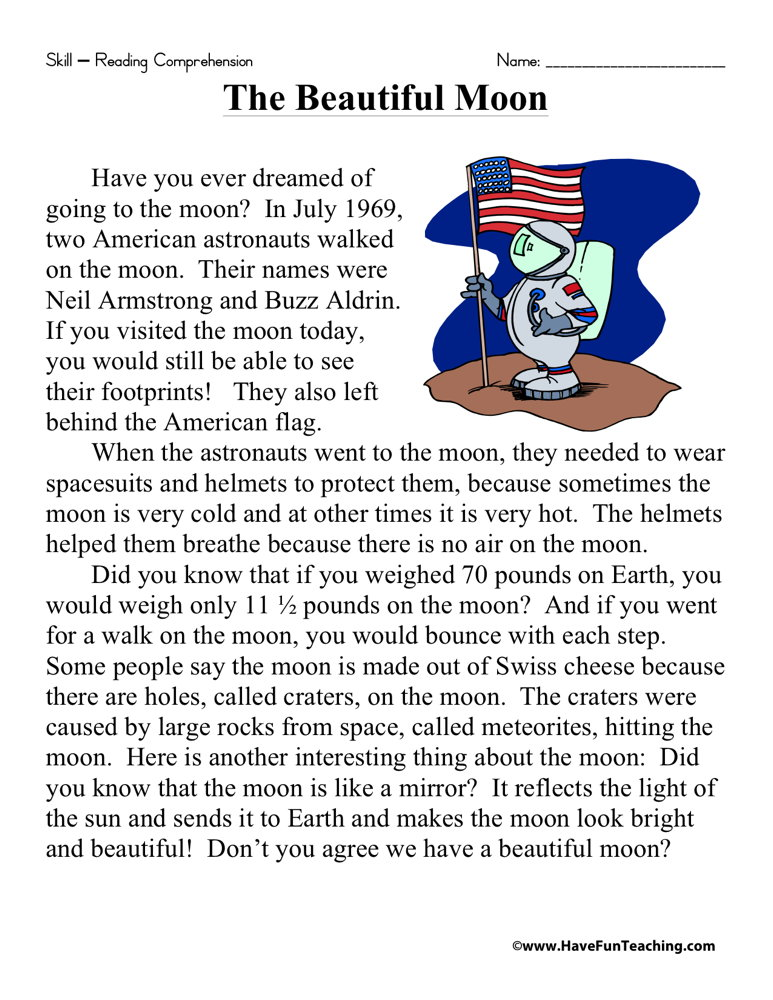 The Beautiful Moon Reading Prehension Worksheet