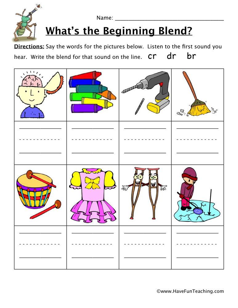 Blends Worksheets Have Fun Teaching. Beginning Sounds Worksheet Cr Dr Br. Worksheet. Blending Sounds Worksheet At Clickcart.co