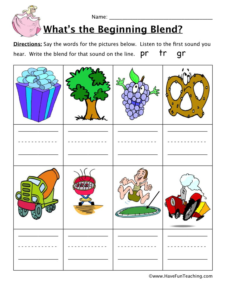 Blends Worksheets Have Fun Teaching. Beginning Sounds Worksheet Pl Bl Cl. Worksheet. Blending Sounds Worksheet At Clickcart.co
