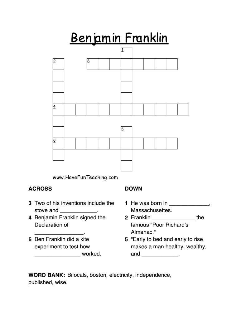 benjamin franklin crossword puzzle have fun teaching. Black Bedroom Furniture Sets. Home Design Ideas