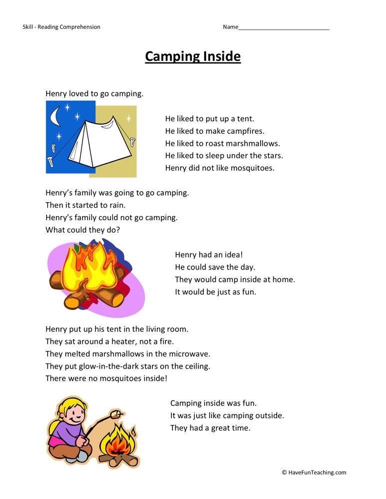 Camping Inside Reading Comprehension Worksheet