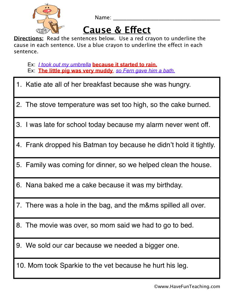 Cause and Effect Find it Worksheet