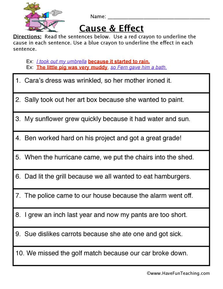 cause and effect relationship worksheets for grade 5